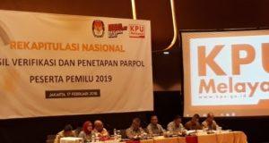 KPU : 2 Parpol Tidak Penuhi Syarat Peserta Pemilu 2019
